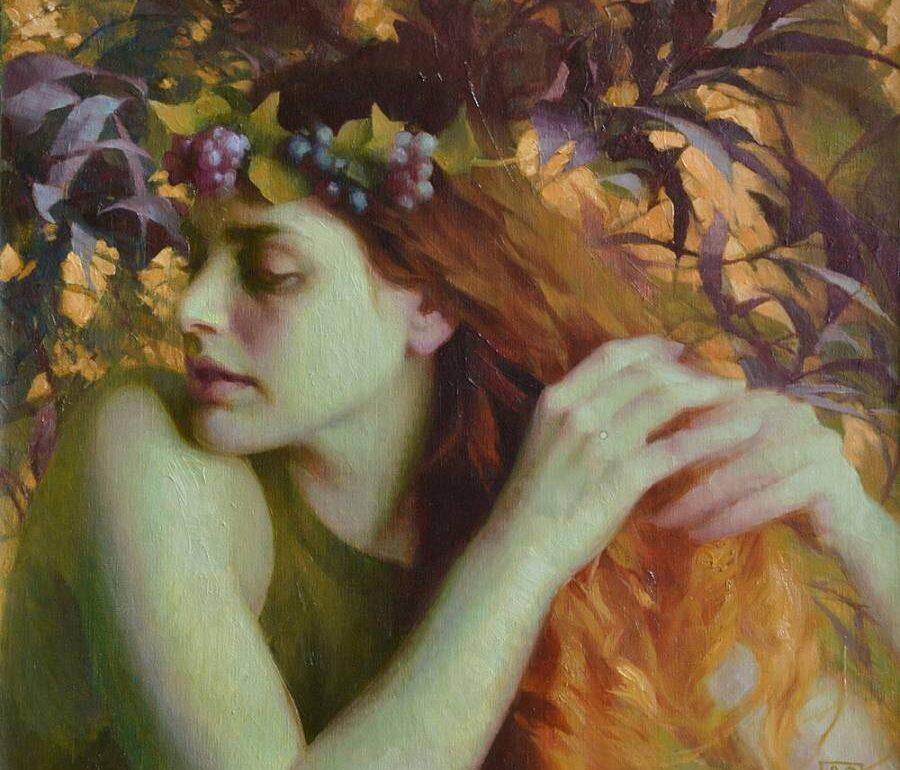adrienne stein-woman with golden hair-portrait-painting