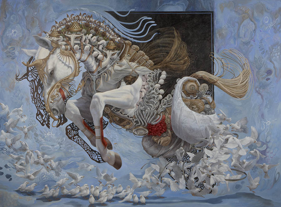 Heidi-Taillefer-painting-horse-doves- surreal art surrealism