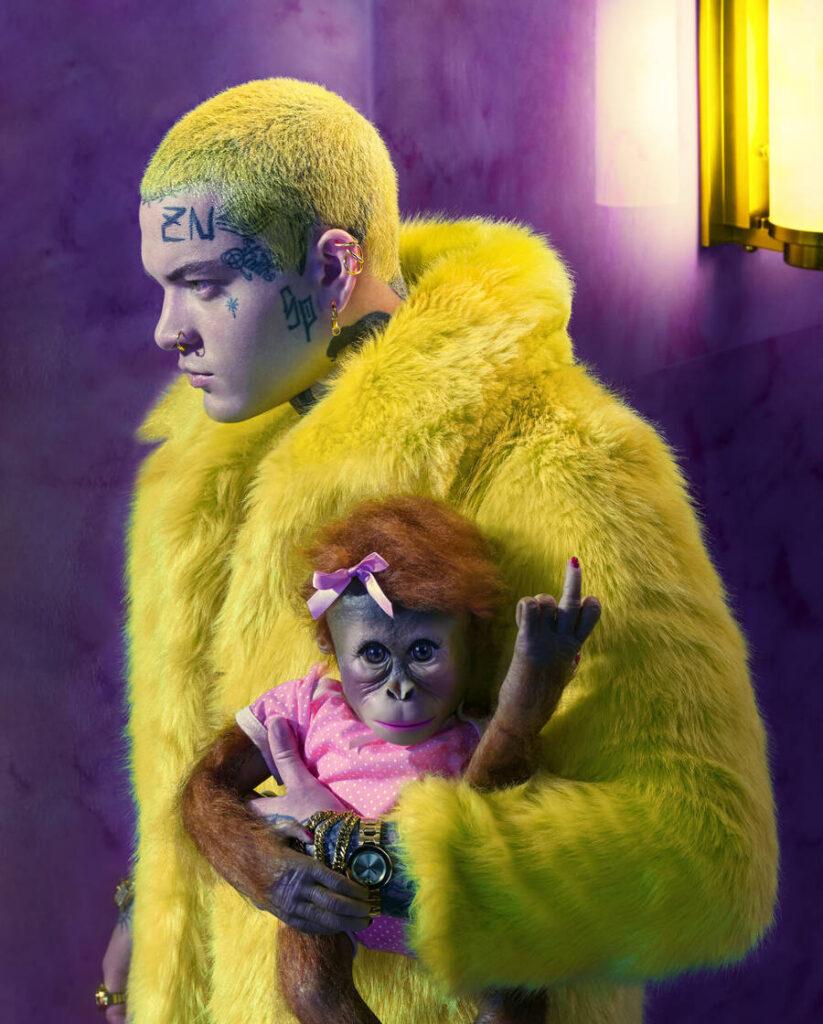Pol Kurucz yellow fur coat