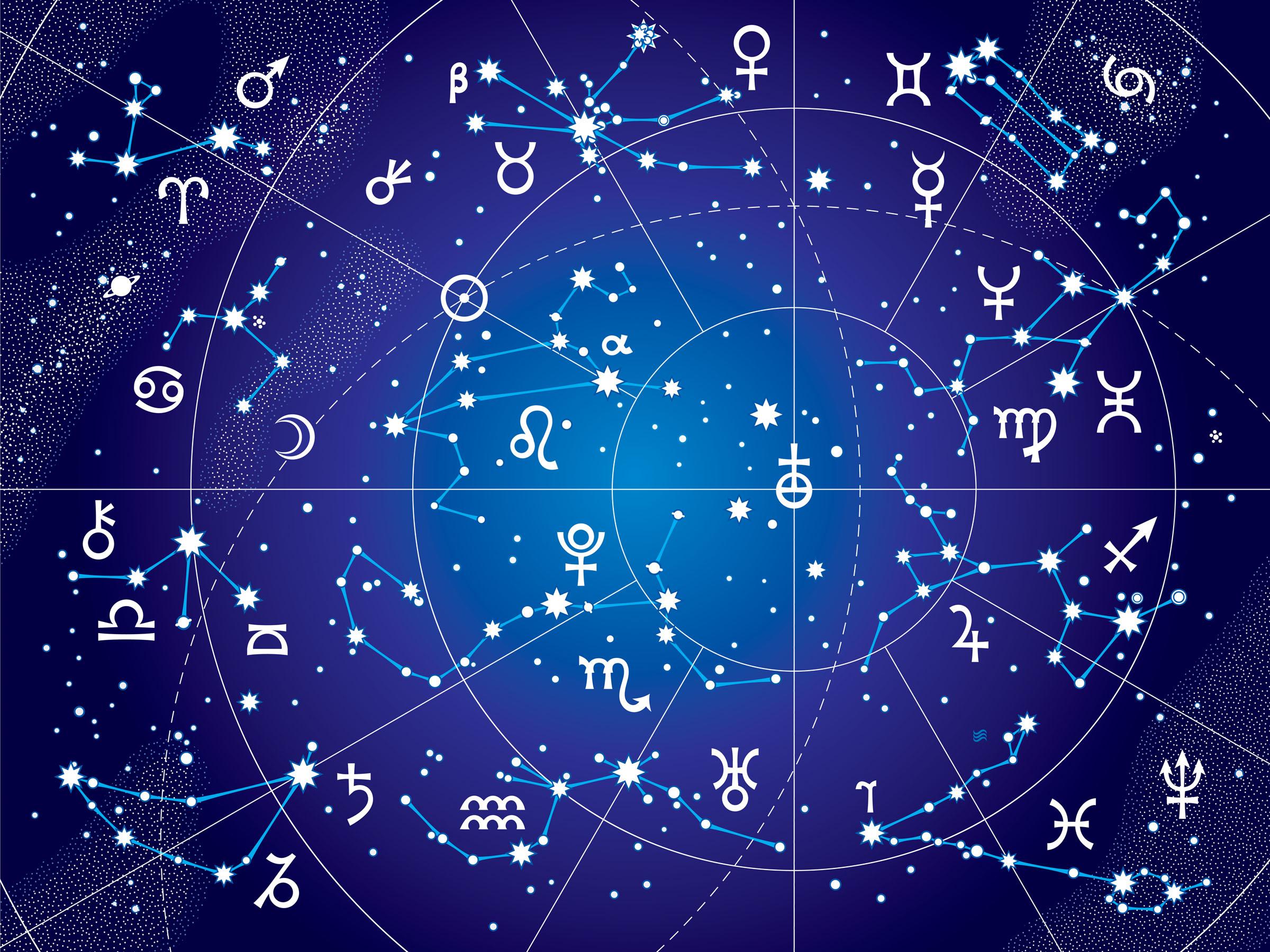 XII Constellations of Zodiac (Ultraviolet Blueprint version)