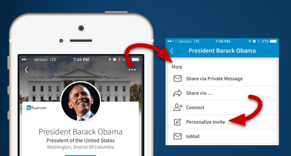 How to personalize connection requests from the LinkedIn mobile app.