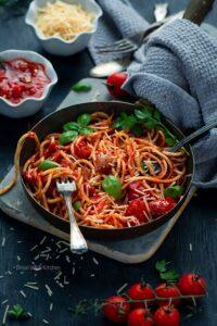 Roasted Tomato Pasta with Garlic