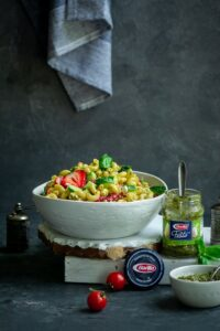 Strawberry & Rustic Basil Pesto Pasta Salad