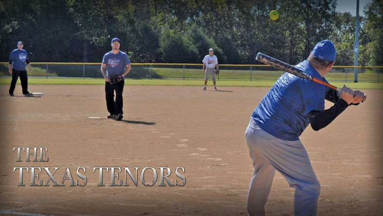 The Texas Tenors take the field in the Benefit the Badge Charity Softball Game