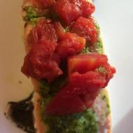 Roasted Salmon with Cilantro Pesto Recipe