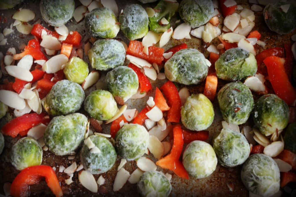 roasted brussel sprouts and red pepper 1