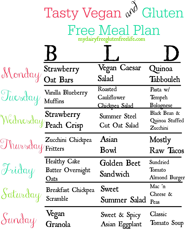 Gluten Free Vegan Meal Plan