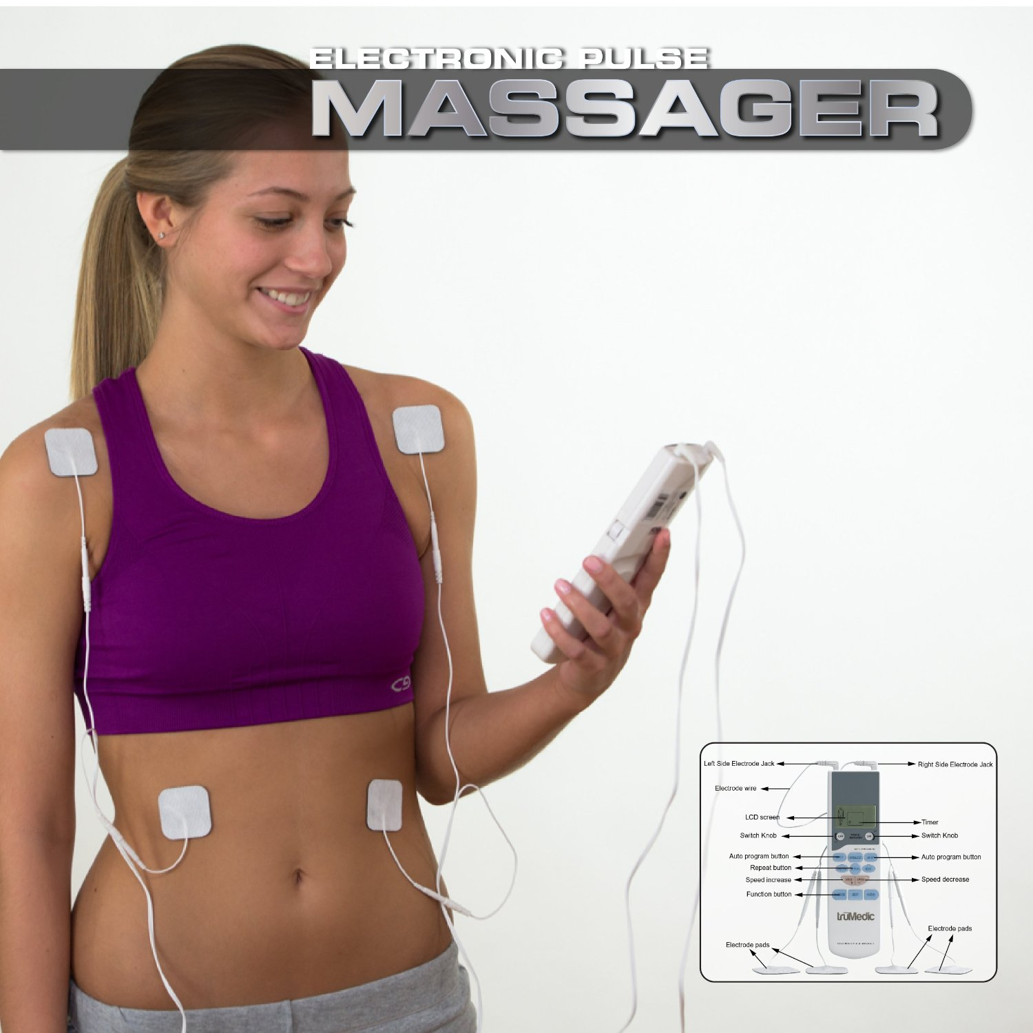 Electronic TENS Unit Pulse Massager by TruMedic