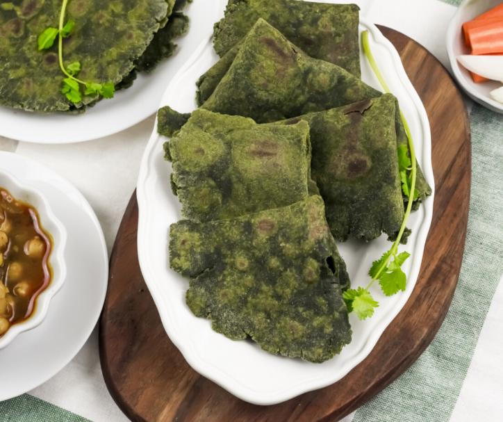 Spinach Paratha, Naan, flatbread