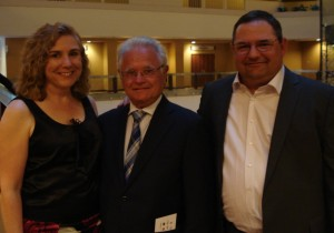Kentucky Derby Tours Claire Gilbert with Trainer Art Sherman and his son Alan at 2015 Trainers Dinner