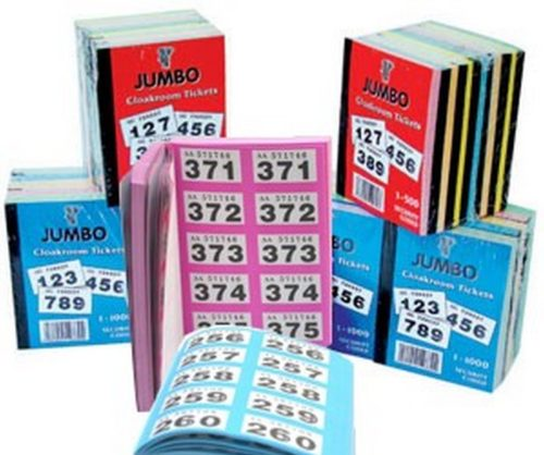 Raffle, Cloakroom Tickets, 500 or 1000 books, tombola, draw,Jumbo brand,numbered