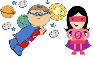 Clipart super hero girl and boy