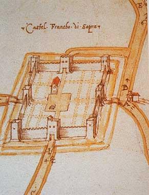 oude stadskaart Castelfranco di Sopra