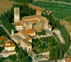 De abdij vanuit de hoogte