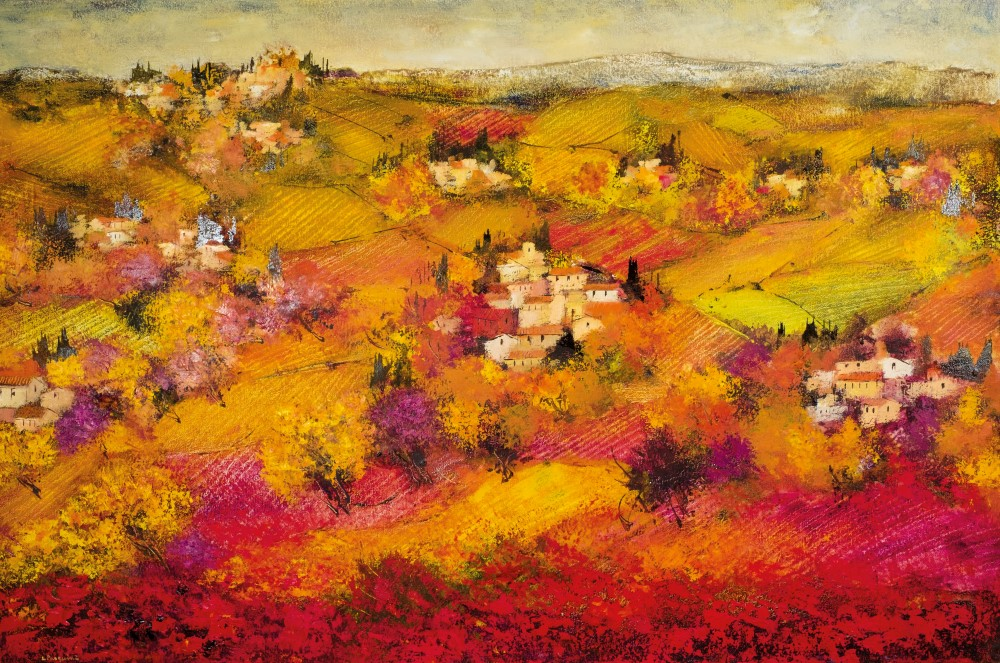 Schilderij van Toscaans landschap
