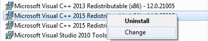 Change (Repair) Microsoft Visual C++ 2015 Redistributables