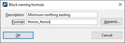 Block Naming Formula Settings