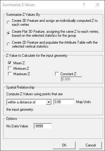 Summarize Z - One value for the feature as a whole: Elevation information is stored in the vertices