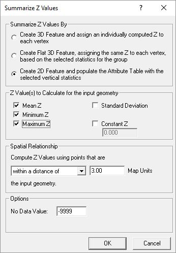 Summarize Z - One value for the feature as a whole: Elevation information is stored in the attribute table