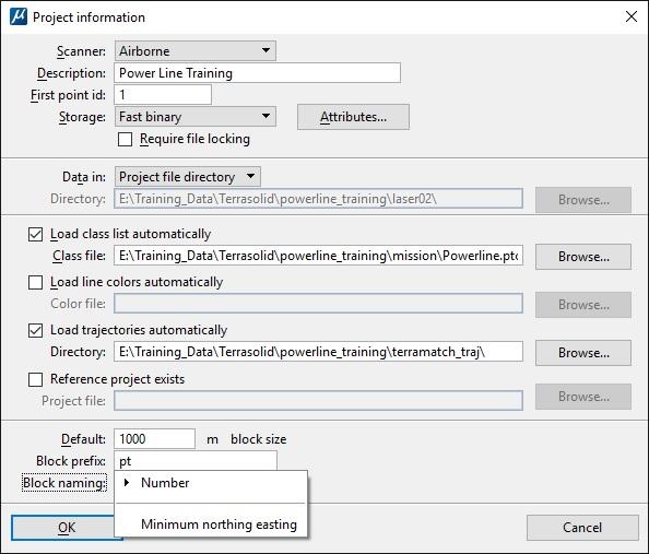 TerraScan Project Set-up Block Naming