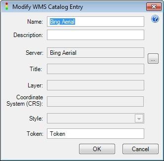 Modify WMS Catalog Entry