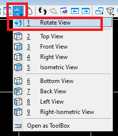 Showing available options for rotating the view in Bentley view controls