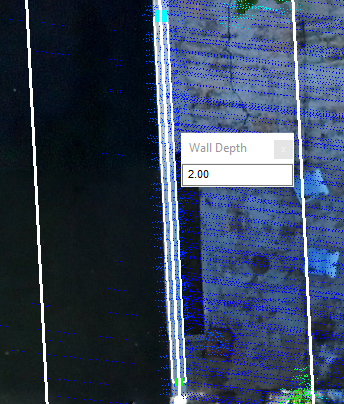 Showing user entering the wall depth when creating a seawall feature