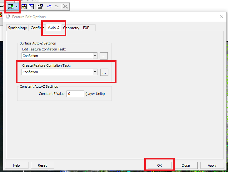 Auto-Z Feature Edit Options for conflation task