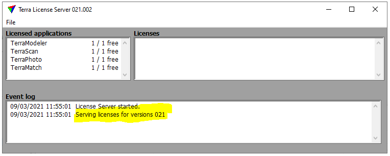 Terra License Server showing licenses served by GUI instead of Service and Currently Expired Licenses returned to the server
