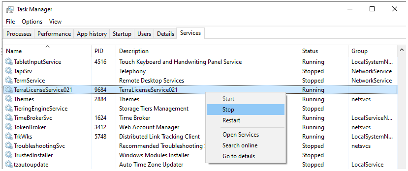 Stopping the Terra License Server service using Task Manager