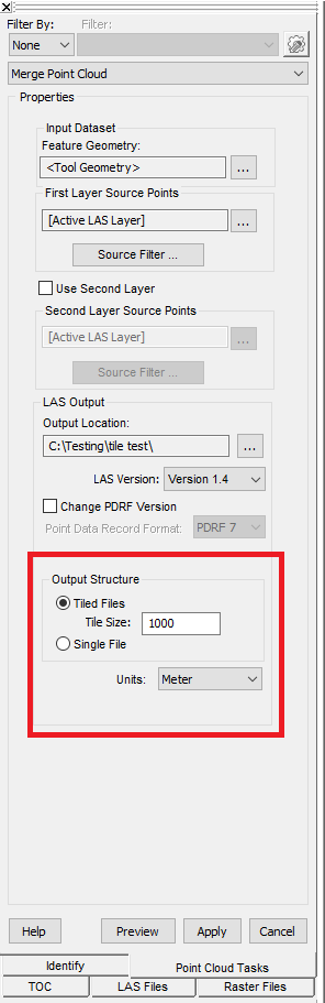 Image showing LP360 Merge Point Cloud PCT tiling options for creating new files with the recommended LAS file size