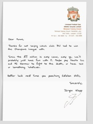 Klopp letter