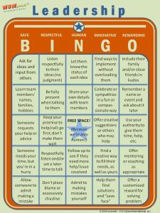 Leadership Bingo game, leadership assessment tool