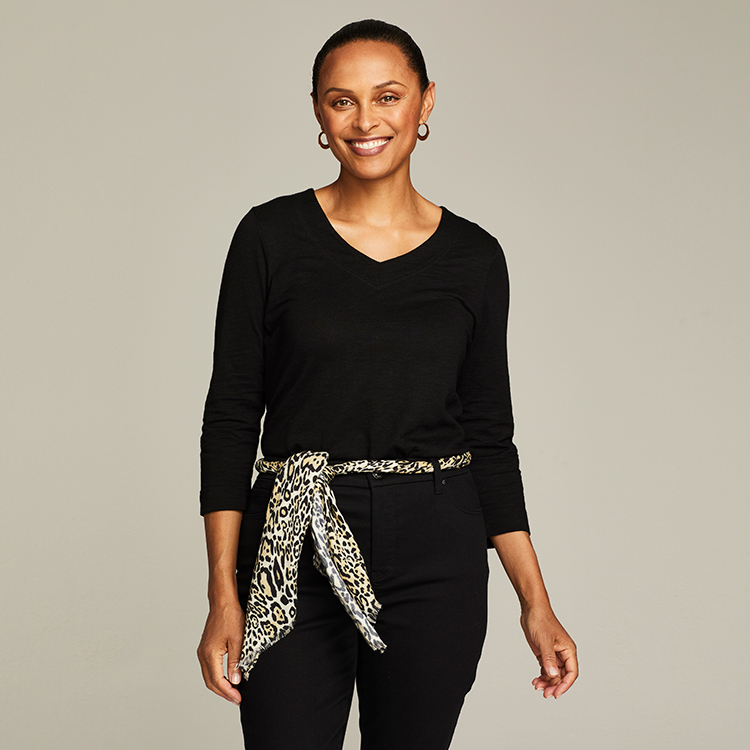Chico's scarf can be twisted into a belt shape and tied around the waist