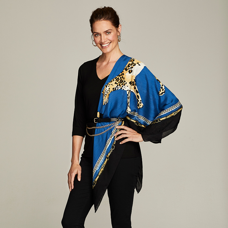 Chico's scarf can be worn over the shoulder with a belt around the waist for a belted wrap look