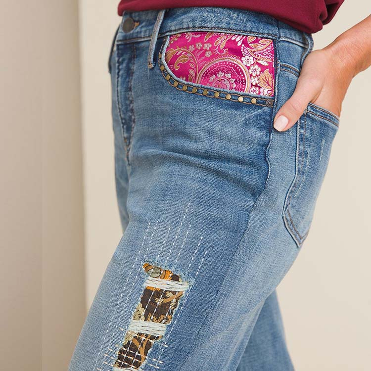 embroidered patchwork girlfriend ankle jeans