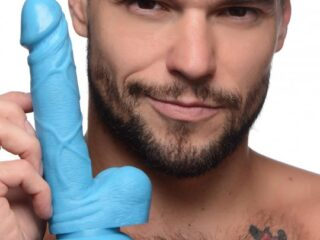 6.5 Inch Dildo with Balls - Blue