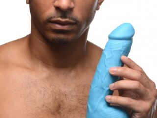 8.25 Inch Dildo with Balls - Blue