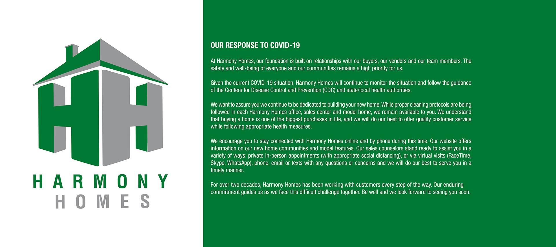 Harmony Homes COVID-19 Coronavirus response