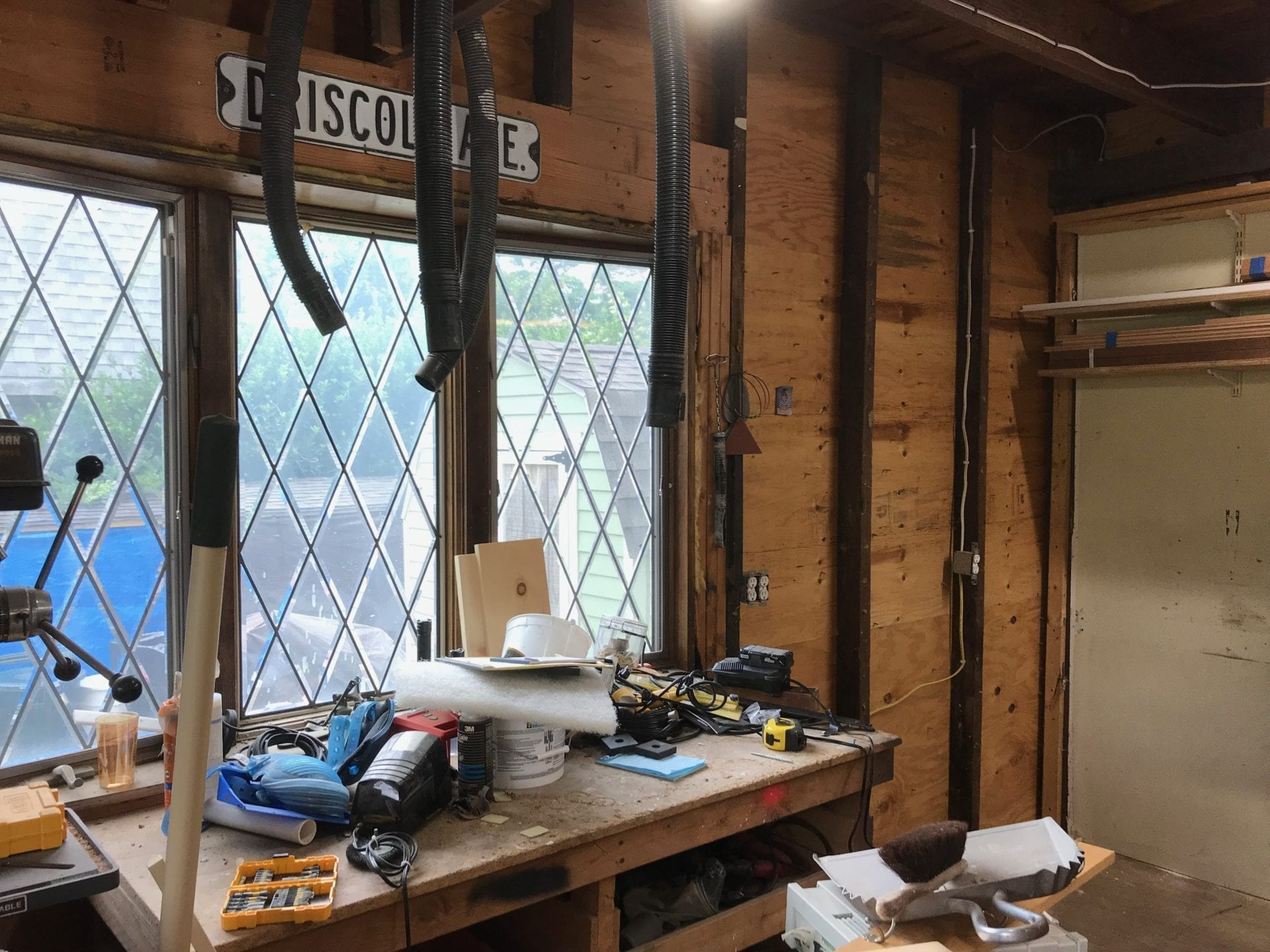 old work bench before updating workshop space