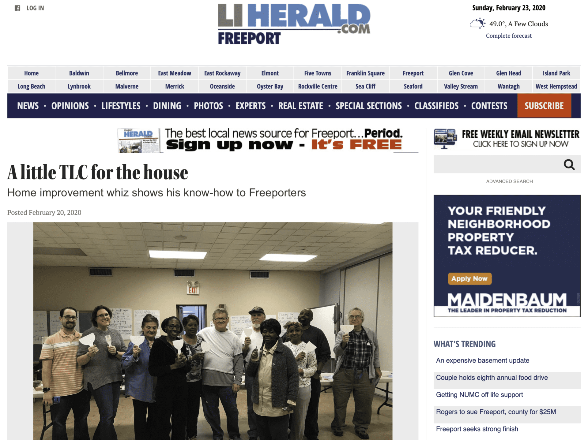 TLC for the house article published by the Long Island Herald Freeport