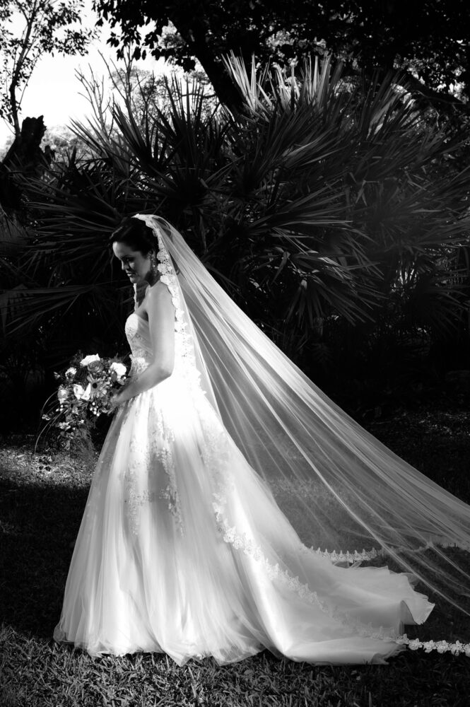 black and white formal of bride