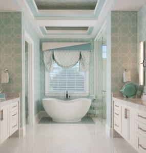 custom window treatment for a bathroom