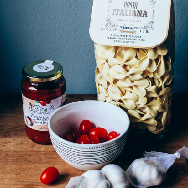 Italian Porcini Pasta with Meatballs