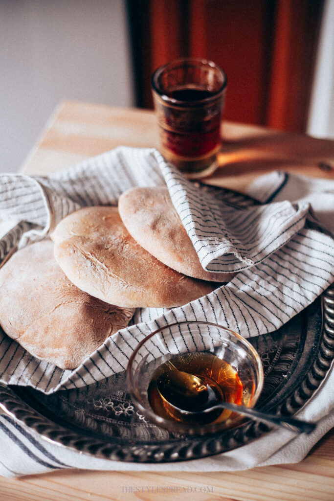 baked bread with tea