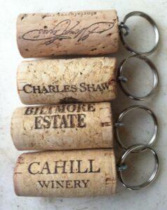 wine corks used as keychains