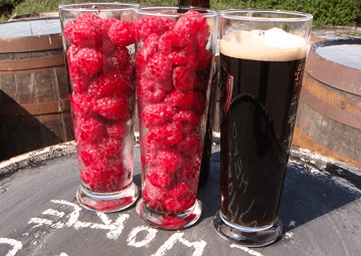 Glasses Of Raspberries With Glass Of Porter