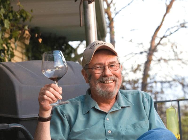 Man Drinking Wine Outside