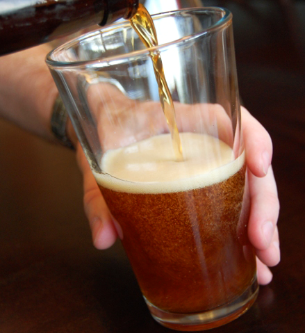 Pouring A Brown Ale Beer