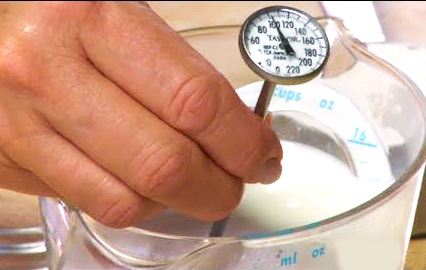 Checking temperature before adding yeast to homemade wine.